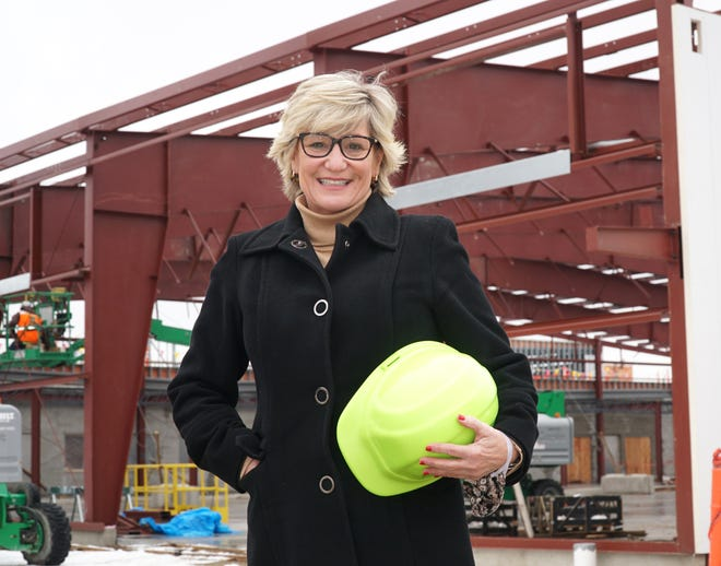On Jan. 5, 2021 Livonia Mayor Maureen Brosnan stands at the future, expanded home of Livonia's Department of Public Works. The building is taking shape at 12973 Farmington Road and should be open by later this year.