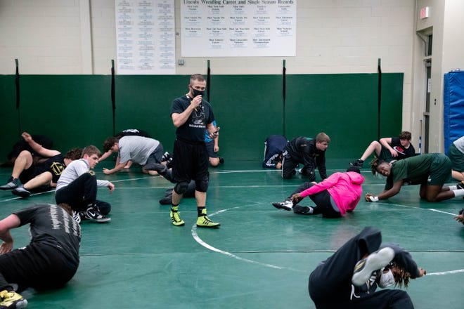 The Lincoln High School wrestling team practices Tuesday, Jan. 5, 2020.