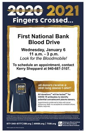 A blood drive will be 11 a.m. to 3 p.m. Wednesday by First National Bank.