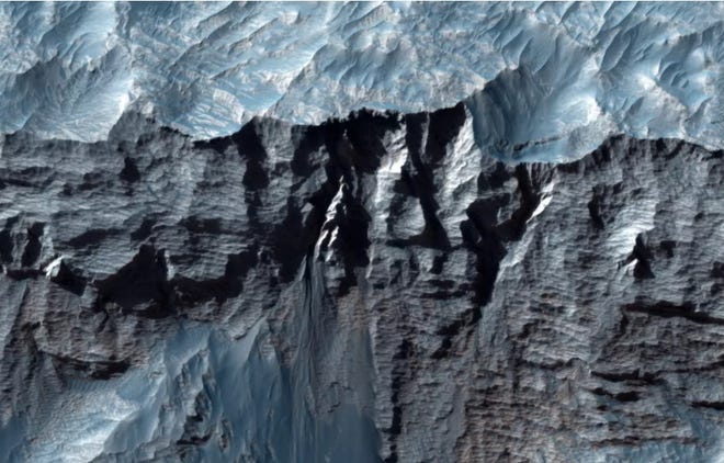 A close-up view of Mars' Valles Marineris, the largest canyon in the solar system.