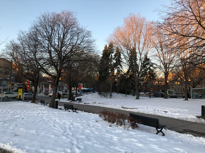 Snow on the ground at sunset outside Station Lionel Giroux in Montréal, Québec, in Novmeber 2019.