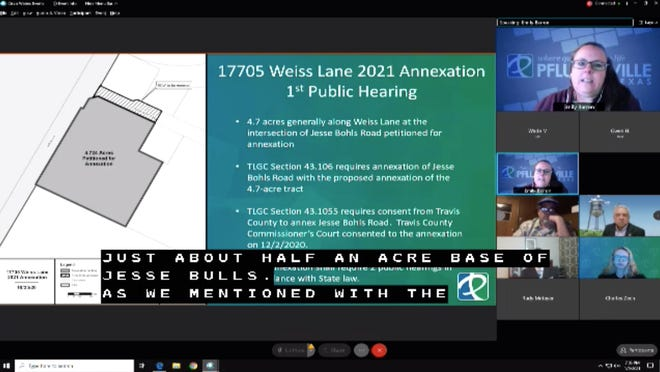 City Planning Director Emily Barron presented to the Pflugerville City Council the first public reading of the 17705 Weiss Lane 2021 Annexation during a special meeting on Jan. 5.