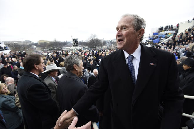 Jan 20, 2017; Washington, DC, USA;   Former US President George W. Bush leaves after the Presidential Inauguration of Donald Trump at the US Capitol. Mandatory Credit: Saul Loeb/Pool Photo via USA TODAY NETWORK