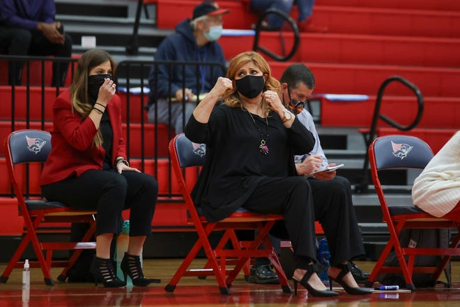 Georgetown head coach Rhonda Farney calls out encouragement to her team against East View earlier this season. Farney led Georgetown to a district win over Liberty Hill Tuesday, which set up a showdown with Cedar Park Friday.