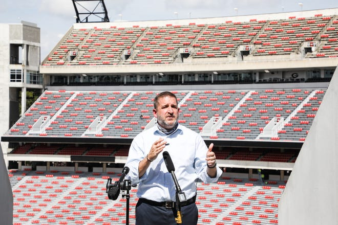 New Georgia athletic director Josh Brooks at Sanford Stadium in Athens, Ga., on Sept. 23, 2020. (Photo by Tony Walsh)