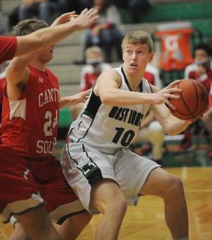 West Branch's Josh Gregory works in the paint in an Eastern Buckeye Conference game against Canton South Tuesday, January 5, 2021 at the West Branch Field House.