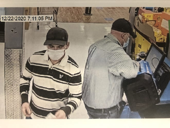 The Ardmore Police Department is asking for the public's assistance in identifying the two men pictured. The individuals are suspects in a recent theft.