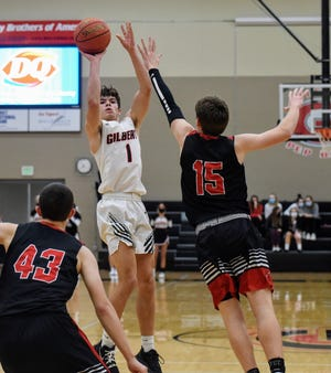 Birk Hanson, seen here in Gilbert's home game against North Polk on Dec. 11, went for 28 points during the Tiger boys' 65-62 loss at Bondurant-Farrar Tuesday in Bondurant.