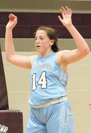 Freshman forward Kelsey Ward turned in one of her best games for the Bartlesville High School varsity girls basketball team by scoring five points at Sapulpa.