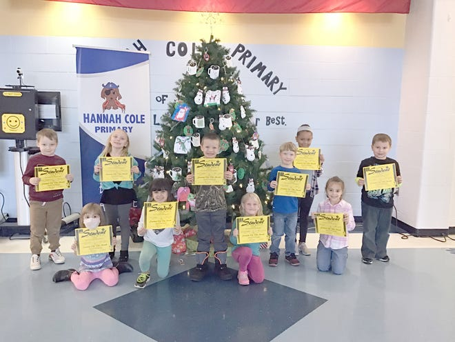 Hannah Cole Primary Kindergarten Students of the Month (left to right):  Jagger Templemire, Charlotte Ourth, Kennedy Wooldridge, Rory Brake, Ryan Toellner, Brooklyn Bailey, Charlie Litwiller, Malaya Schoen, Sabriel Iliff, Coltin Mize.