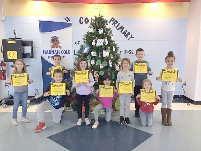 Hannah Cole Primary 1st Grade Student of the Month (left to right):  Eltiana Usejnoski, Lane Toellner, Boston Palmer, Vayda Stretz, Rylee Brake, Carrie Lang, Cullen Walk, Lillyann Baker, Nia May.  (Absent, not pictured - Arianna Douglas)