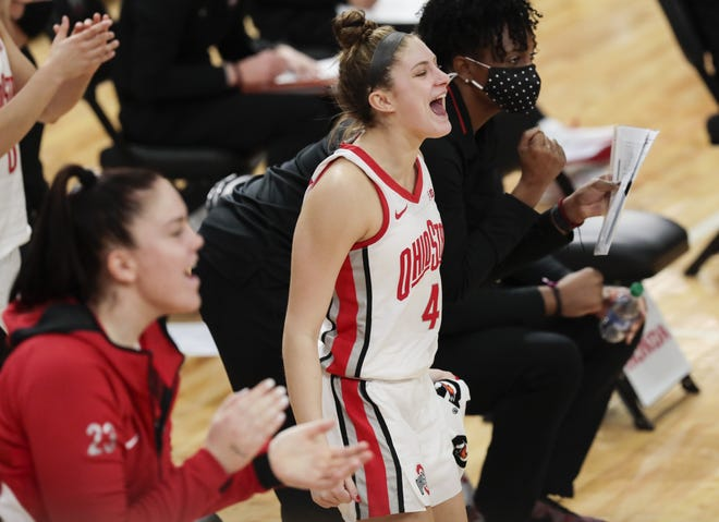 Ohio State guard Jacy Sheldon (4) believes she and her teammates will find motivation this season in a one-year NCAA Tournament ban for recruiting violations.