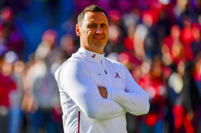 Texas has hired Alabama offensive coordinator Steve Sarkisian, seen here in 2019, as the Longhorns new coach. The move comes just days before the Crimson Tide will play for the college football national championship.