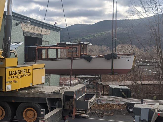 The Pat II, which served as a tour boat at the Thousand Islands and on Skaneateles Lake but has been out of service since 1991, came to the Finger Lakes Boating Museum in 2014 and is being rehabilitated by volunteers.