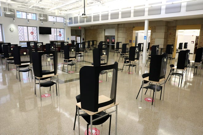 Though no students have attended classes in-person since March, the cafeteria at Linden-McKinley High School was set up as a standardized testing site in late December. In addition to not offering in-person classes, Columbus City Schools also has postponed all extracurricular activities through at least Jan. 23.