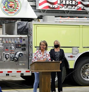 Monica Kelsey, from Safe Haven Baby Boxes, speaks about the importance of a drop-box for unwanted babies inside BST&G fire station in Sunbury on Tuesday. It will be the 56th Safe Haven drop-off box in the nation and fourth in Ohio.