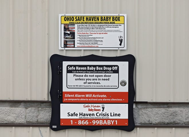 The Safe Haven Baby Box for unwanted babies is seen Jan. 5, 2020, on the outside of the BST&G Fire District building in Sunbury, Ohio. A Florida Senate committee advanced a bill Tuesday to change state law to allow for similar boxes.