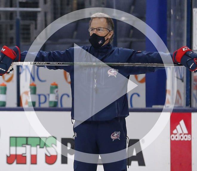 Columbus Blue Jackets head coach John Tortorella leads training camp at Nationwide Arena in Columbus on Tuesday, Jan. 5, 2021.