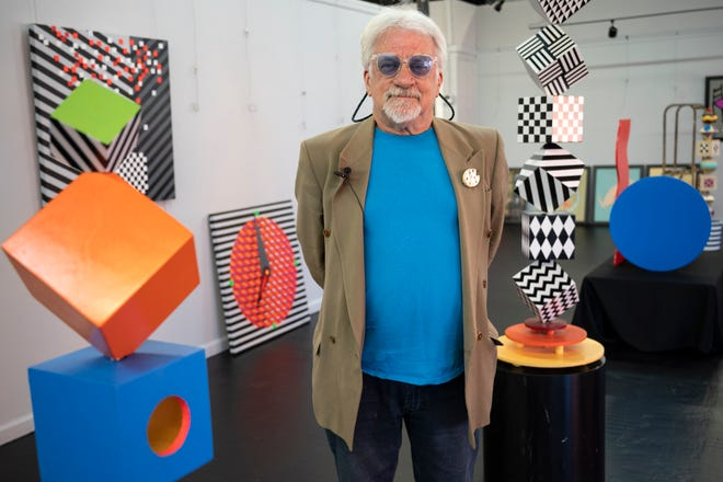 """Artist and designer Michel Bergeron will be showing his new exhibit, """"Colors in Black & White,"""" at the Leesburg Center for the Arts beginning Friday. [Cindy Peterson/Correspondent]"""