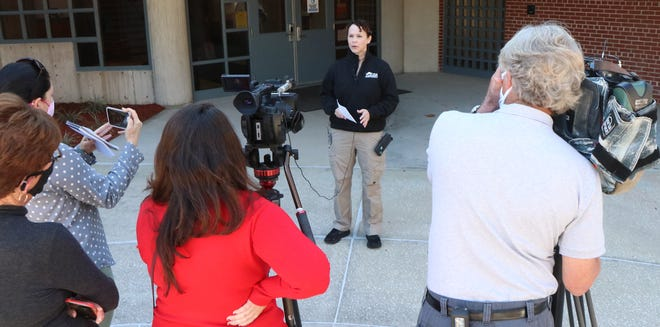 Michelle Newman, Director of Safety and Security at Volusia County Schools speaks to the media, Wednesday January 6, 2021 on Volusia County Schools plan to increase school safety and security.