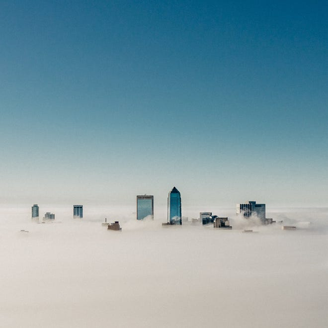 Seth Langner took this drone photo of downtown Jacksonville from the front yard of his house in Springfield on the morning of Dec. 28.