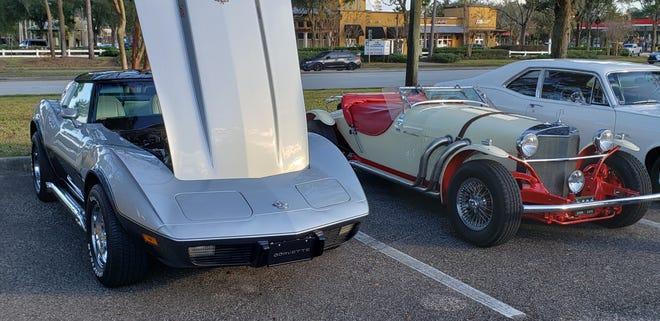 A classic Corvette (left) and a rare Brooks Stevens-designed 1960's-vintage Excalibur SSK at a recent Cruise Fruit Cove.