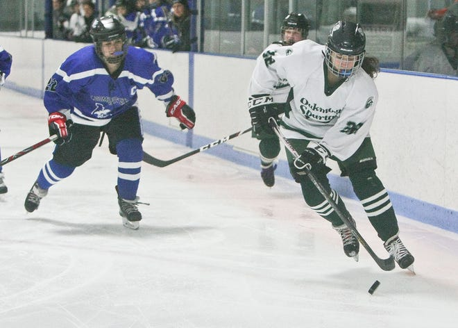 Returning junior Annaka Gendron, shown handling the puck against Leominster last year, has been named a team captain for the Oakmont/Monty Tech co-op girls' hockey team this season.