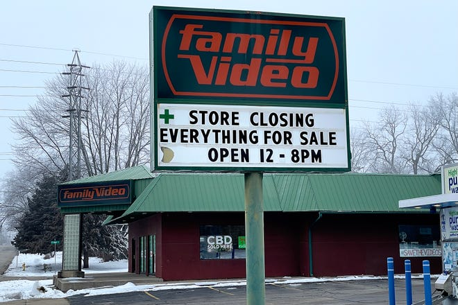 A sign announcing the impending closure of Family Video is seen at the store's 187 W. Losey St. location on Wednesday, Jan. 6, 2021. Glenview-based Highland Ventures, the parent company of Family Video, announced it will close its remaining stores nationwide, with Jan. 6 as the last day for rentals.