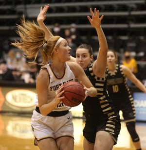 FHSU's Olivia Hollenbeck looks to score on Saturday against Emporia State.