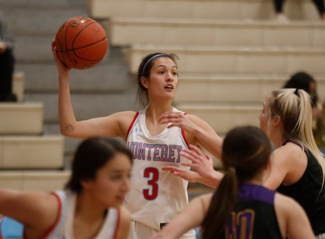 Monterey's Mia Trevino (3) looks for an open teammate to pass to during the District 4-5A opener against Abilene Wylie on Tuesday , Jan. 5, 2021, at Monterey High School in Lubbock, Texas.