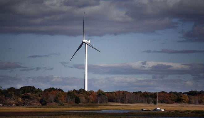 The Scituate wind turbine along the North River.