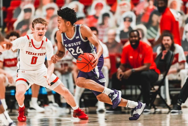 Kansas State guard Nijel Pack (24) works against Texas Tech's Max McClung during a Jan. 5 game in Lubbock, Texas.