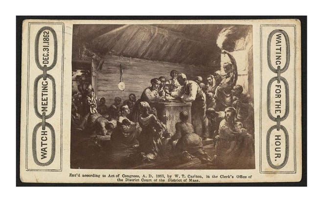 African-American men, women and children gathered around a man with a watch, waiting for the Emancipation Proclamation. Watch meeting, Dec. 31, 1862--Waiting for the hour / Heard & Moseley, Cartes de Visite, 10 Tremont Row, Boston.