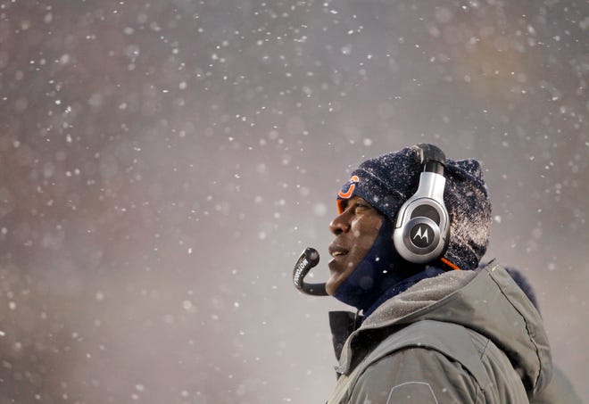 Chicago Bears' Lovie Smith is shown on Dec. 12, 2010 as the New England Patriots defeat the Bears 26-7 at Soldier Field in Chicago.  (Scott Strazzante/Chicago Tribune/MCT)