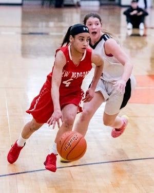 New Bedford's Quiomarie Vazquez, who was the area's leading scorer last season, scored 10 points in Monday's loss to Bishop Feehan.