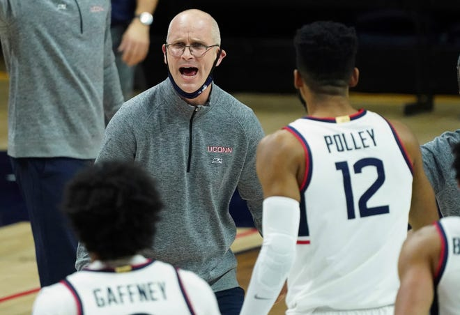 Connecticut coach Dan Hurley reacts during the Huskies win against DePaul in Storrs. UConn rallied for a 65-54 win against Marquette last night in Milwaukee.