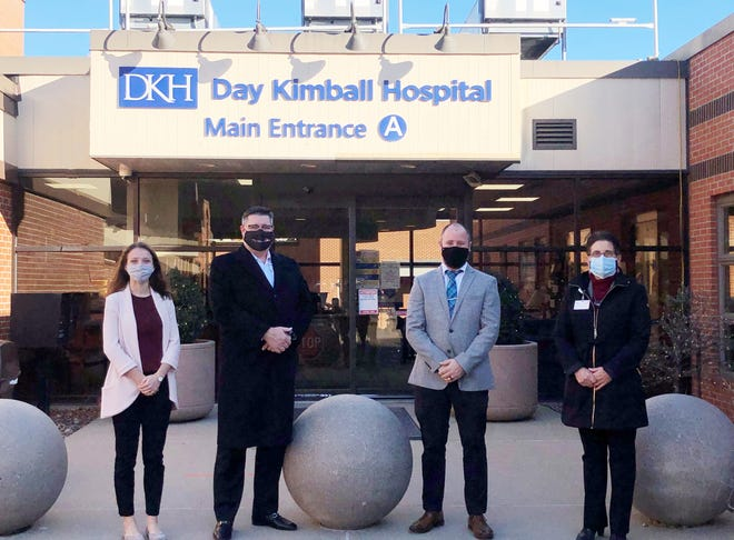 Pictured, from left, are SPIROL Employee Giving committee member Tara Meinck, Day Kimball Healthcare Chief Executive Officer Kyle Kramer, SPIROL Employee Giving committee member Matt Bartlett and Day Kimball Healthcare Director of Development Kristen Willis.
