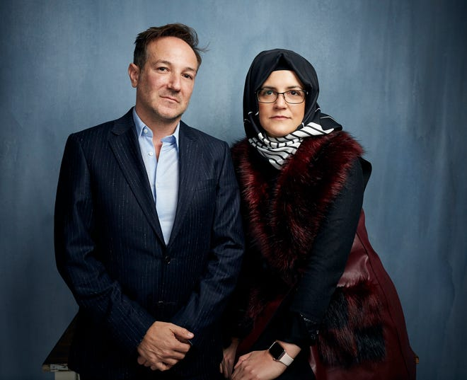 "Director Bryan Fogel and  Hatice Cengiz pose for a portrait to promote ""The Dissident,"" a film about slain journalist Jamal Khashoggi, during the Sundance Film Festival  in Park City, Utah on Jan. 24, 2020. ("