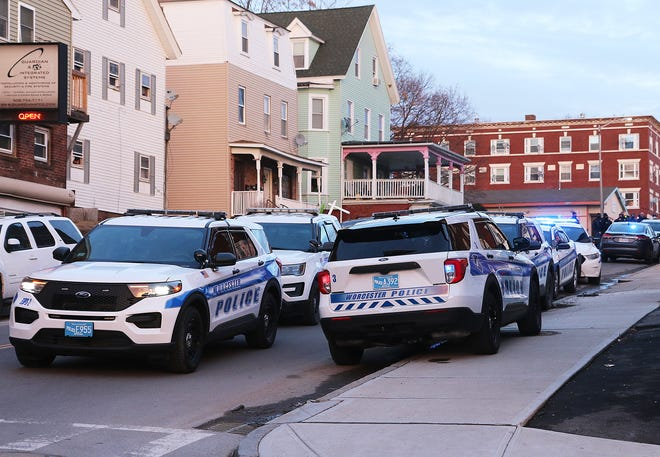 Worcester police respond to an incident on Pleasant St. on Wednesday.