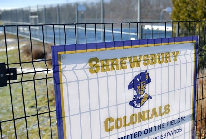 The Colonials logo on a fence near the Shrewsbury High School playing fields.
