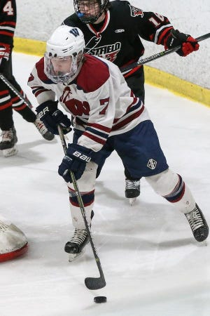 Drew Lewis-Keddy, the team captain, is one of several seniors boosting the Westboro High hockey team.
