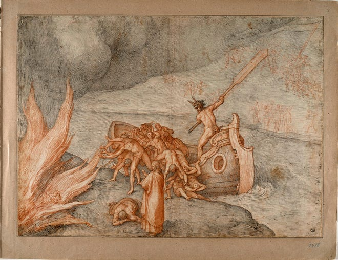 This image made available Dec. 31 shows Caronte, one of the original 88 drawings that went with Dante Alighieri's Divine Comedy by artist Federico Zuccari.