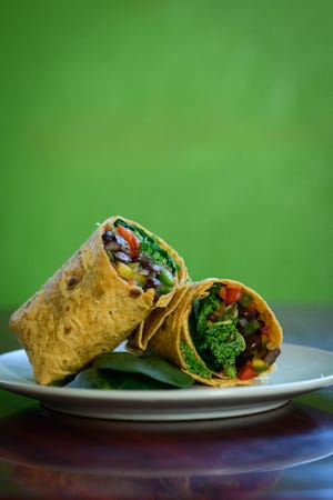 A mixed veggie wrap is available at Prima Elements Wellness Center at 124 Anderson St. in downtown Fayetteville.