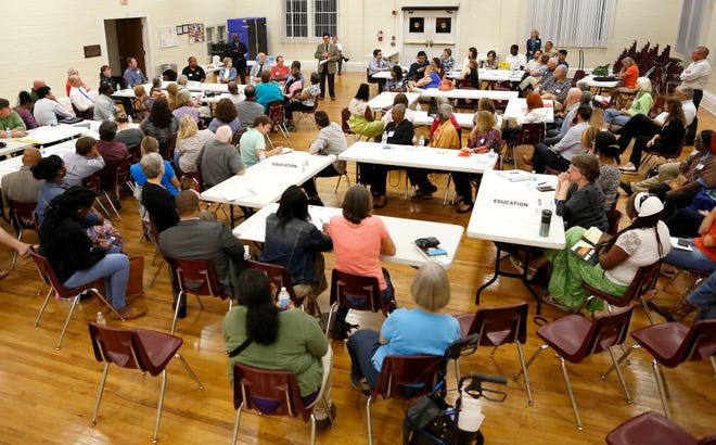 More than 100 members of the community attend the initial Gainesville For All meeting held at the Thelma Bolton Center in Gainesville on Nov. 3, 2016.
