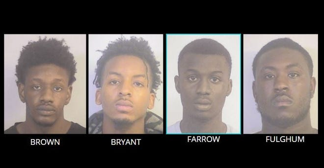 From left to right: Keon Lamar Brown, 23, Deshaun Darnell Bryant, 23, Isaiah Jamal Farrow, 20, and Jaylen Jakobie Fulghun, 22.
