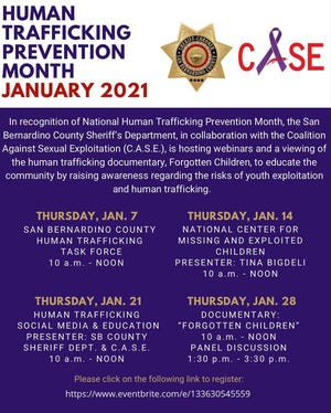 A schedule for human trafficking webinars hosted in January 2020 by the San Bernardino County Sheriff's Department and Coalition Against Sexual Exploitation.