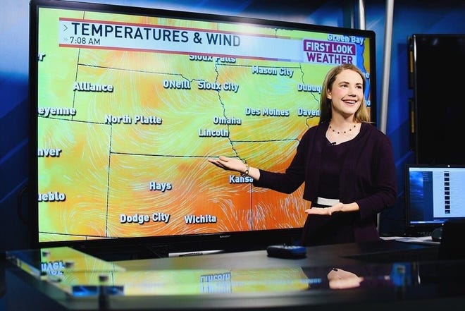 Battle Creek native Katie Nickolaou is the morning meteorologist for Siouxland News in Sioux City, Iowa. A graduate of Harper Creek High School and the Battle Creek Area Math and Science Center, she has gone viral thanks to a social media post warning about eating icicles when they likely contain animal feces.