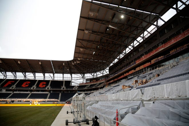 Construction continues inside the seating bowl at the FC Cincinnati West End Stadium in the West End neighborhood of Cincinnati on Wednesday, Jan. 6, 2021.