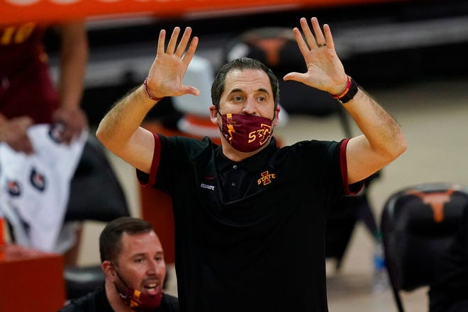 Iowa State head coach Steve Prohm directs his team during the first half of an NCAA college basketball game against Texas, Tuesday, Jan. 5, 2021, in Austin, Texas. (AP Photo/Eric Gay)