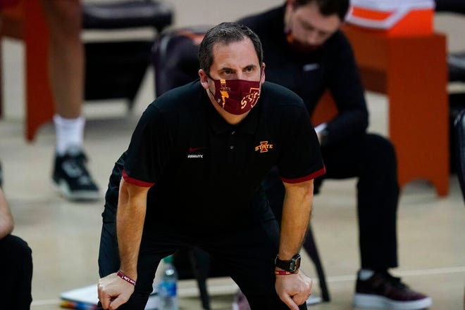 Iowa State head coach Steve Prohm watches from the bench during the first half of an NCAA college basketball game against Texas, Tuesday, Jan. 5, 2021, in Austin, Texas. (AP Photo/Eric Gay)